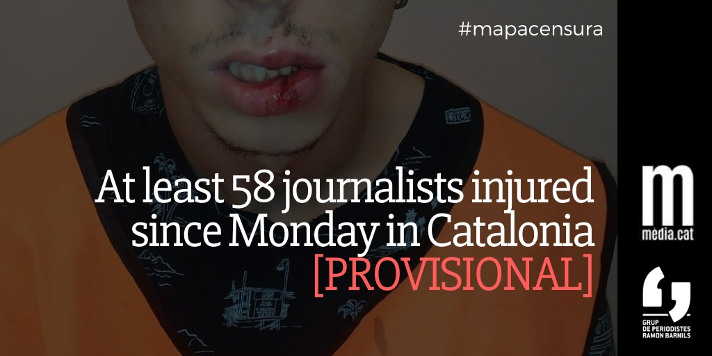 At Least 20 Journalists Injured and 1 Arrested Friday Night in Catalonia