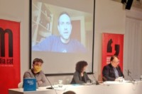 Presentació de l'Anuari Mèdia.cat 2020 al Col·legi de Periodistes, el 24 de març de 2021.